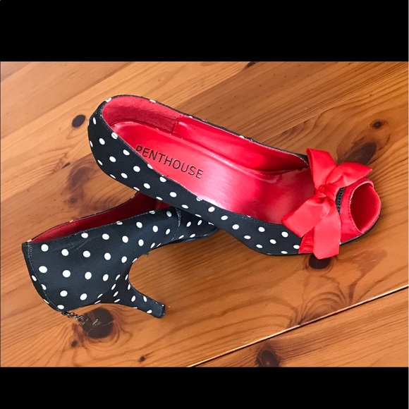 PENTHOUSE Shoes - PENTHOUSE PAIGE SATIN POLKA DOT PUMP